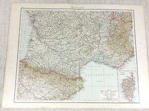 1898 Antik Map Of Frankreich South Korsika Gulf Löwe 19th Century Viktorianisch