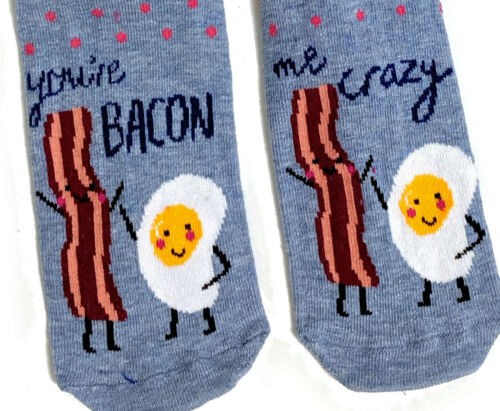 LADIES YOU/'RE BACON ME CRAZY EGGS /& BACON SOCKS UK SIZE 4-8 EUR37-42 US 6-10