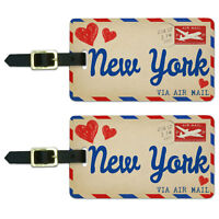 Air Mail Postcard Love for New York Luggage Suitcase Carry-On ID Tags Set of 2