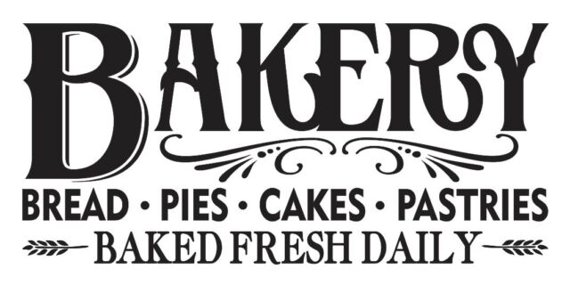 """Kitchen Stencil**BAKERY Bread Pies**12""""x 24""""For Painting Sign Canvas Fabric Wood"""