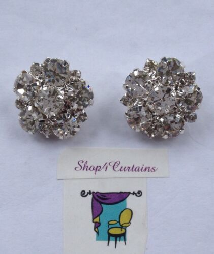 2 Diamante Buttons Silver Button 20mm Size Use on Cushions Crafts