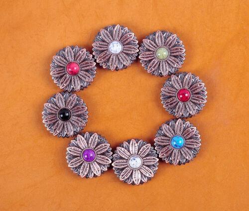 10PCs 30*30MM Flower Concho avec Blanc Turquoise Center Antique Cuivre Screwback
