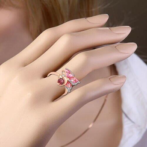 rossooro Anello con smalto Rhodolith CZ CZ CZ Farfalla russa rosa oro 585 0991f7