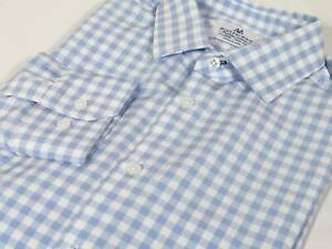 X-Large Mizzen+Main Light Blue Gingham Checker Standard Fit Leeward Dress Shirt