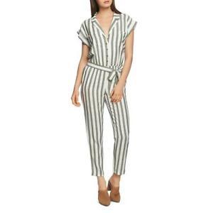 1.State Womens Meadow Sweet Green Striped Short Sleeve Jumpsuit L BHFO 3700