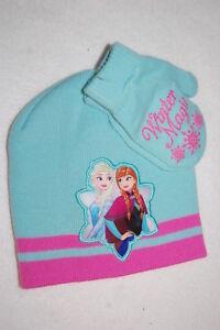 Toddler Baby Girls HAT & MITTENS SET Aqua Pink FROZEN Winter Magic ELSA ANNA