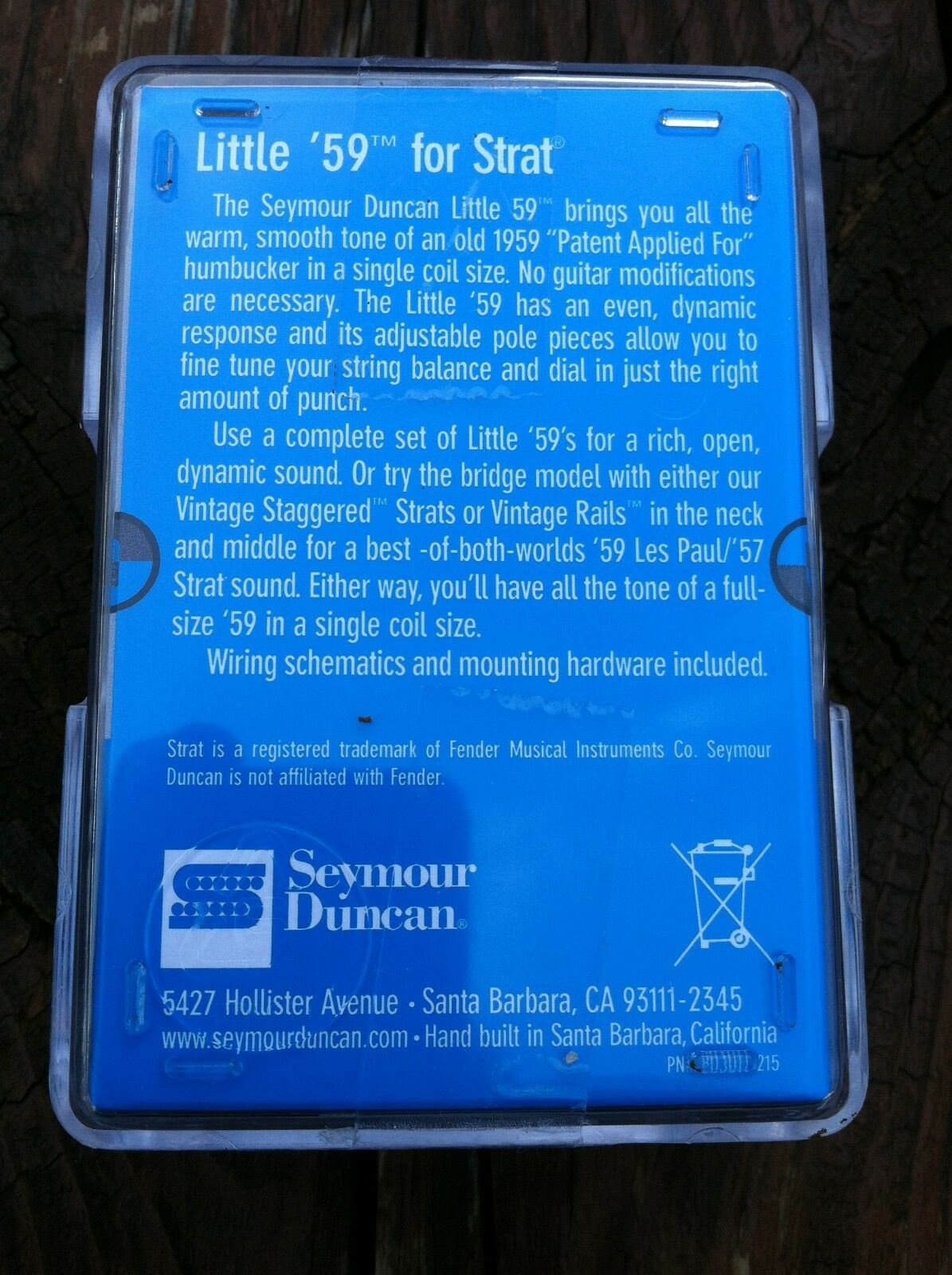 Seymour Duncan SL59-1 59 Strat PAF Humbucker Little pastilla pastilla pastilla del puente blancoo nuevo 803fc2