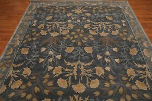 Antique-Hand-Made-Agra-Blue-Floral-Parsian-Traditional-Oriental-Wool-Area-Rug