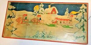 1930s-Christmas-Frieze-Lithograph-Sweden-Santa-Elves-Pigs-Sleigh-Print-VTG-MCM