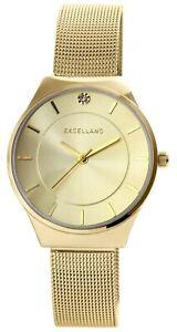 Excellanc-Damenuhr-Gold-Meshband-Strass-Analog-Metall-Armbanduhr-X1300027003