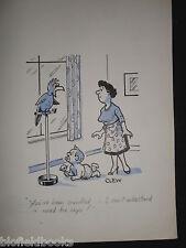 """Clifford C Lewis """"angolo di scotta"""" Originale Penna E Inchiostro CARTONE ANIMATO-Pappagallo parlante & Baby #315"""