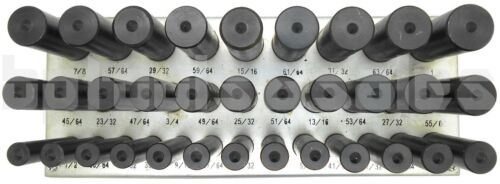 "33pc Jumbo Transfer Punch Set 1//2/"" to 1/"" Machinist Thread Tool w// Metal Stand"