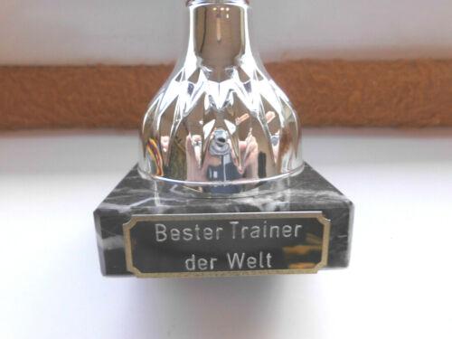 "Pokal Geschenk /""Bester Trainer der Welt/"" 30 cm Trophäe Sportpokal Gravur A299"