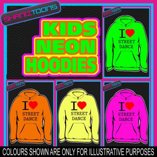 I LOVE HEART STREET DANCE NEON FLUORESCENT BRIGHT ELECTRIC KIDS HOODIE HOODY