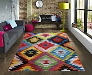 Image Is Loading Large Modern Patchwork Aztec Rug New Bright Colourful