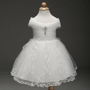 New Sleeveless Princess Wedding White Flower Girl Dress Brooch Kids Clothes UK