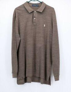 Polo-Ralph-Lauren-Men-039-s-XL-Polo-Shirt-Brown-Long-Sleeve