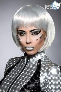 Perucke Silber Bob Kurzhaarperucke Kurz Haar Fasching Karneval Space