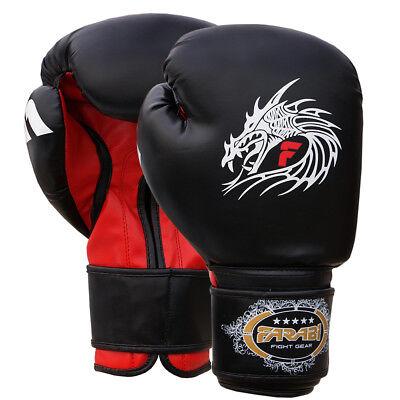 Rigoroso Farabi Guantoni Da Boxe Sparring Muay Thai Punch Bag Mma Guanti Nero-