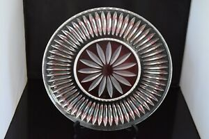 Vintage-pressed-glass-platter-frosted-starburst-center-ribbed-design-11-7-8