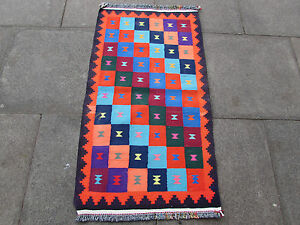 Old-Traditional-Hand-Made-Persian-Oriental-Kilim-Cotton-Wool-Bright-Red-126x72cm