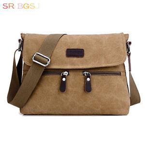 Vintage-Cowhide-Genuine-Leather-Women-Men-Canvas-Handbag-Zipper-Shoulder-Bag