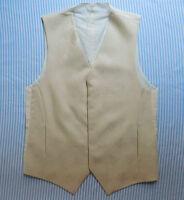 Mens Italian Waistcoat Silk Wool Cream Tuxedo Vest Small Size 36 Chest Xs