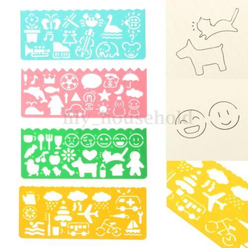 4 teilig Kinder Grafik Zeichenschablone Schablonen Lineal Zeichnung Spielzeug