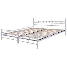 White Queen Size Wood Slats Bed Frame Platform Headboard Footboard Furniture NEW