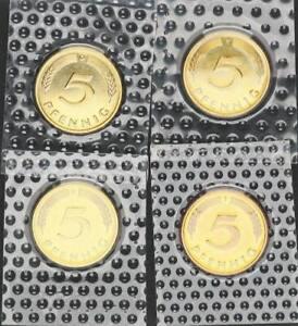 5 Pfennig 1981 D,f,g,J 4 Münzen komplett prfr st 56650