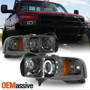Fits-94-01-Dodge-Ram-1500-2500-3500-Smoked-Dual-Halo-LED-Projector-Headlights