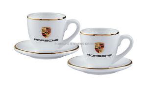 Porsche Espresso Cups Set of 2 Porsche Colored Crest White Cups & Saucers