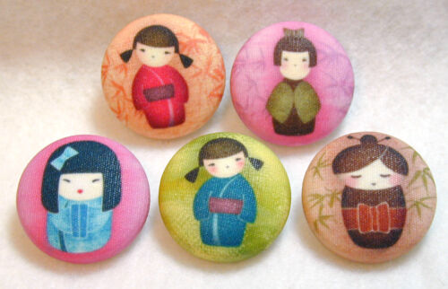 FREE US SHIPPING Set of 5 Hand Printed Kokeshi Doll Buttons 7//8 inch Cute