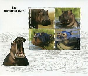 Wild-Animals-on-Stamps-2019-MNH-Hippos-Hippopotamus-Fauna-4v-M-S
