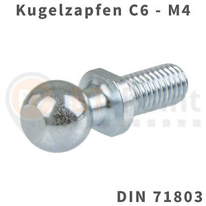 Kugelzapfen-6mm-M4-DIN-71803-Kugelkopf-Kugel-Zapfen-Kopf-Gasfeder-Audi-Opel-VW