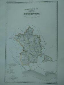 1844 Zuccagni-Orlandini Delegazione di Frosinone Mappa Carta Geografica Lazio