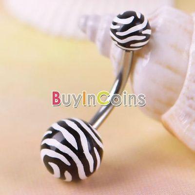 Hot Stainless Zebra Animal Print Navel Belly Button Barbell Ring Piercing BA