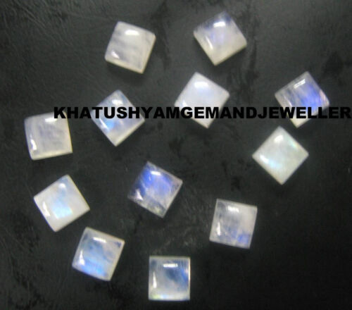 AAA Quality 20 Pieces Rainbow Moonstone 6X6 mm Square cabochons Loose Gemstone