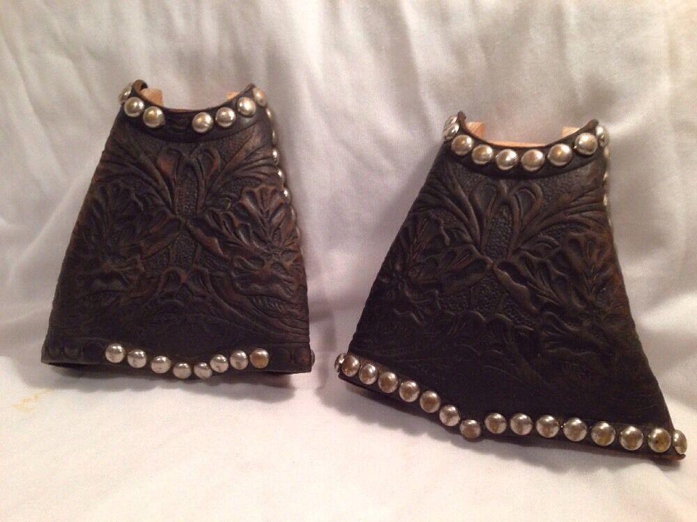 Vintage Tapaderos Western Tooled Leather Stirrups W  Brads Parade, Western Decor