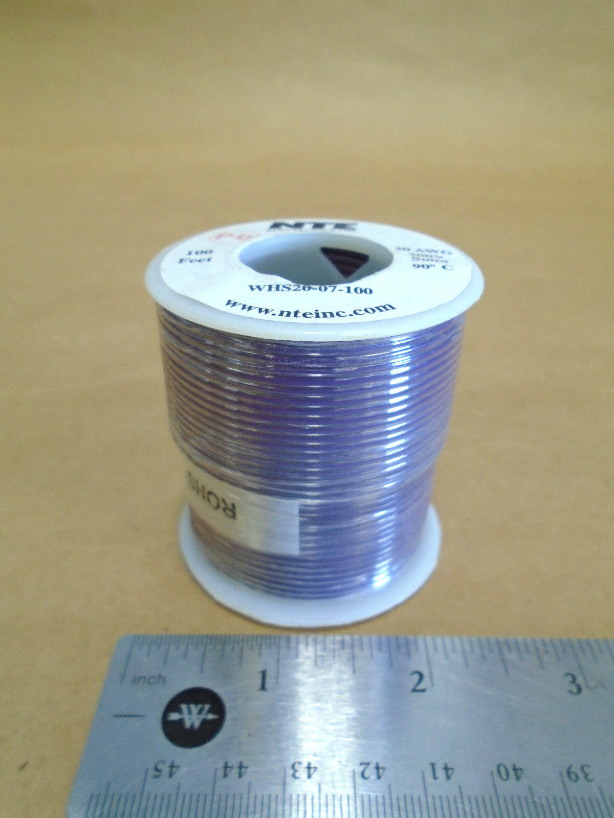 ( 100 FT Spool ) NTE WHS20-07-100 ( 20 AWG ) Solid Hook Up Wire 300V ( Purple )