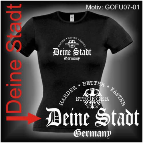 Damen T-Shirt Girlie Shirt mit Wunschtext Stadt oder Namen Wunschdruck GOFU07-01