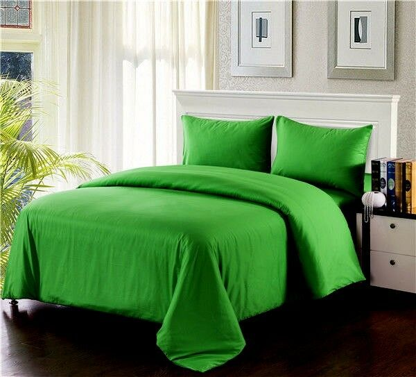 Tache 3 PC Cotton Solid Spring Lime Dark Green Duvet Cover  Set With ZipperSizes