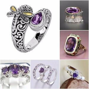 Fashion-Amethyst-925-Silver-Women-039-s-Ring-Wedding-Bridal-Handmade-Jewelry-Vintage