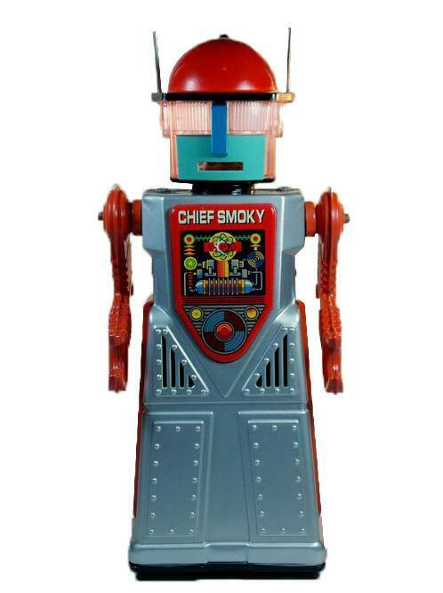 El señor jefe ahumado Robotman Vintage Retro Coleccionable Estaño Juguete Con Pilas Azul