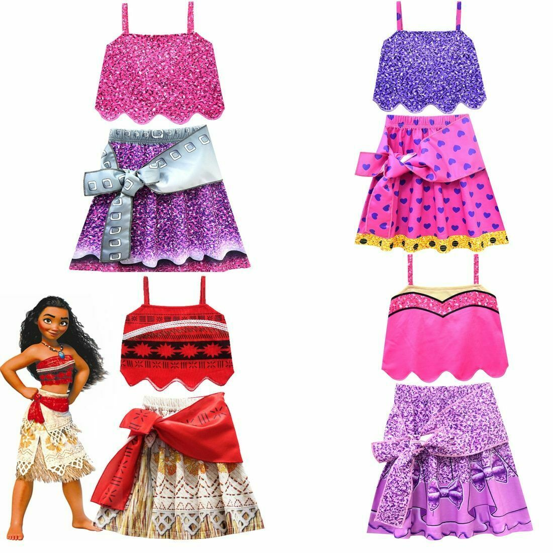 Kids Girl Fancy Dress Costume Moana Princess Cosplay Outfits Xmas Skirt UK Ship