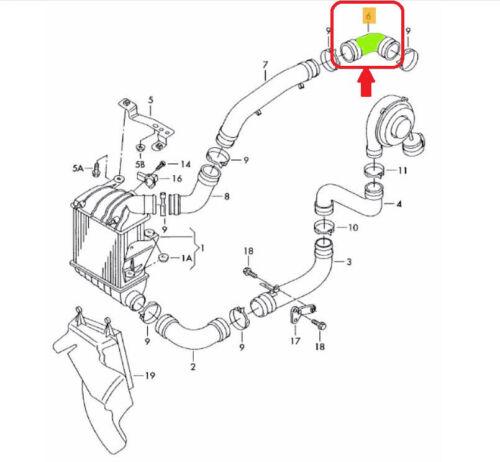 SEAT IBIZA CORDOBA SKODA FABIA VW POLO TURBO INTERCOOLER HOSE PIPE 6Q0145838J