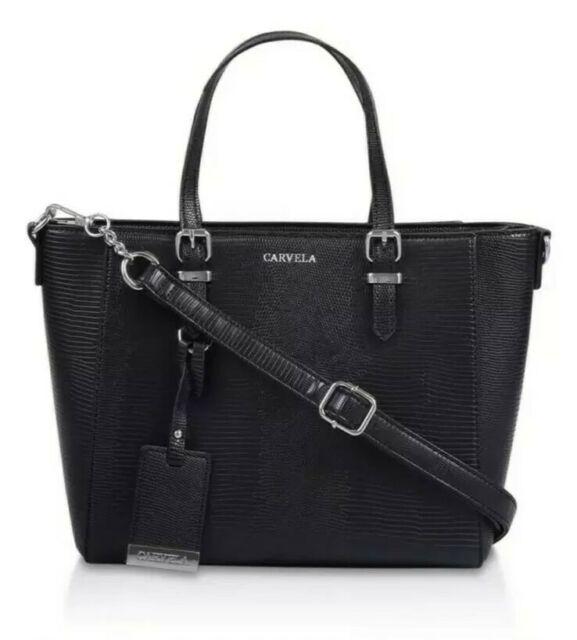 Carvela Kurt Geiger Black Snake Print Faux Leather Shoulder Tote Crossbody Bag