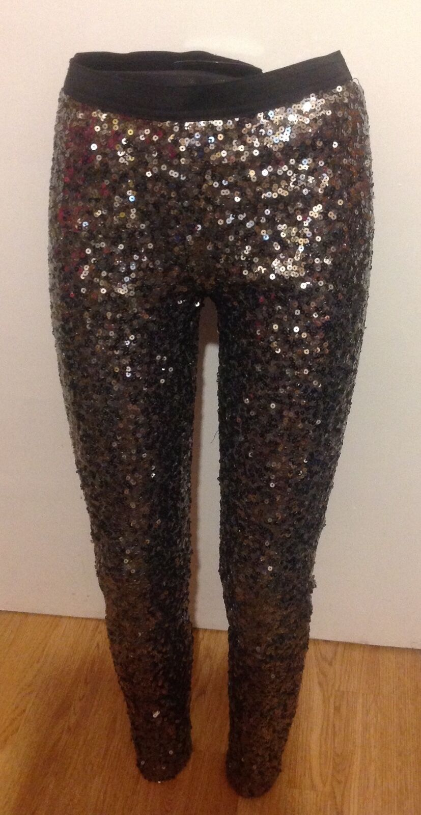 FRENCH CONNECTION SEQUIN TUXEDO, LINED LEGGINGS SIZE SMALL