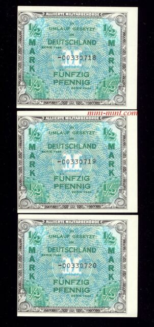 THE REAL Germany P-191b 1944 1/2 Mark AMC, 3 Consec Serial #s, Off Center Errors