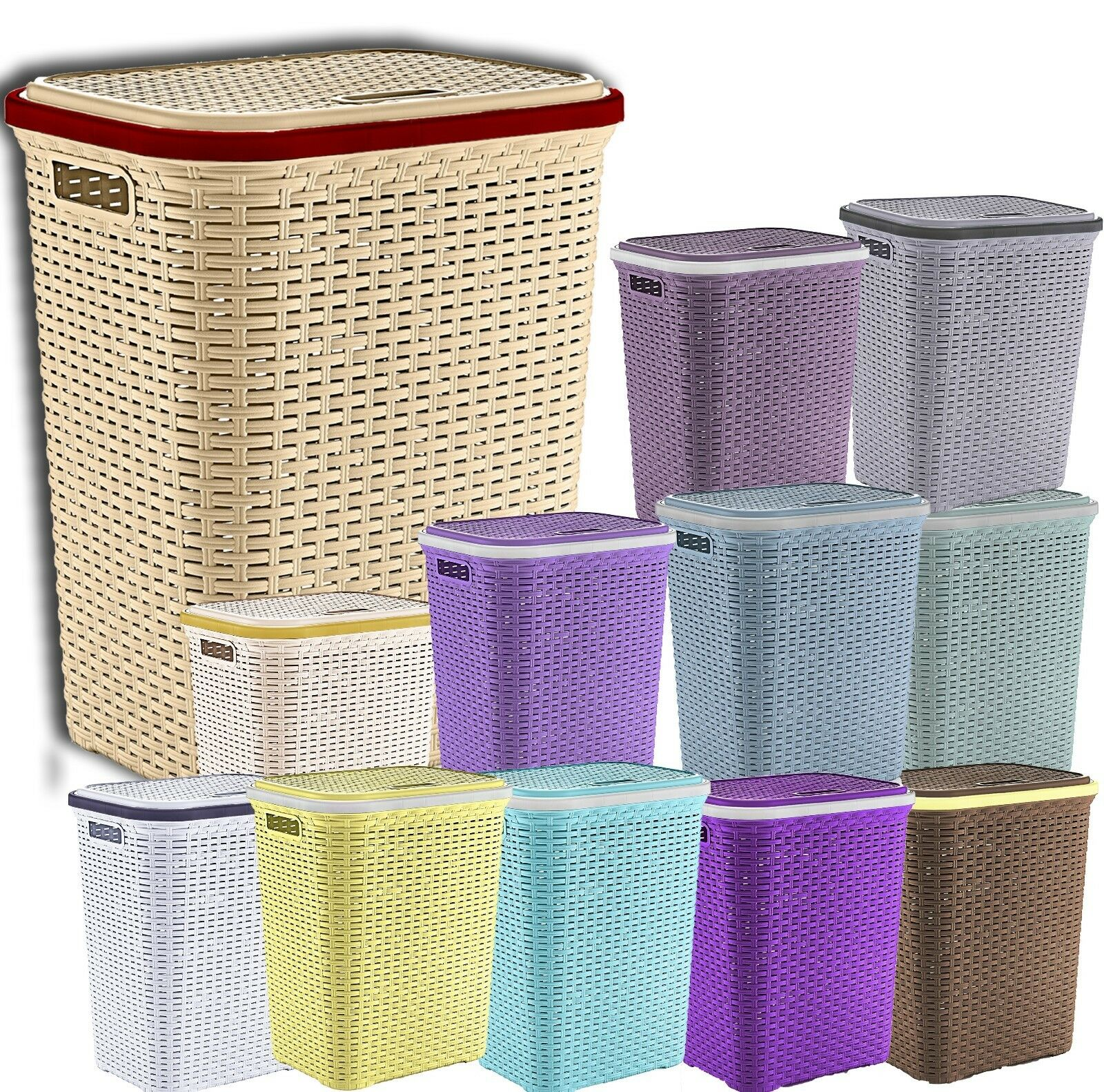 Plastic Rattan Laundry Basket Washing Clothes Storage Hamper Baskets Bin Bins